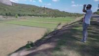 Vue aerienne par drône de la campagne à Madagascar