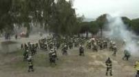 Grève des pompiers à Nice : illustrations envahissement et occupation de l'autoroute A8 par manifestants