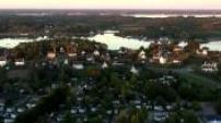 Vues aériennes de la baie de Saint-Philibert au coucher du soleil
