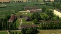 Vue aérienne abbaye de citeaux situé à Saint-Nicolas-lès-Cîteaux en Bourgogne