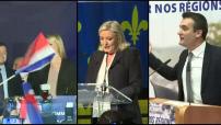 Elections régionales 2015 réactions de joie des militants FN et interview Louis Aliot