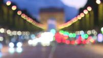 Illustration circulation routière sur les Champs Elysées de nuit