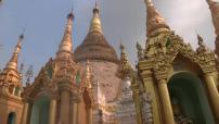 Shwedagon Pagoda and temples around near Rangoon