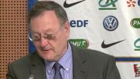 Football : conférence de presse de Didier Deschamps, présentation des nouveaux maillots de l'équipe de France