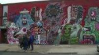 Brooklyn graffiti illustrations and skyscraper.