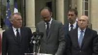 Arrivée du gouvernement pour le 2ème conseil des ministres et déclaration d'Edouard Philippe sur la menace terroriste