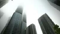 Tours du centre financier de Toronto dans le brouillard