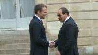 Emmanuel Macron meeting with Egyptian President Abdel Fattah El-Sisi
