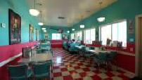 """Illustration Route 66 : restaurant """"diner"""" (décor années 50)"""