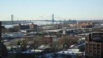 Vue générale de Detroit et du pont Ambassadeur