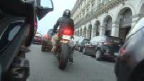 Traffic of a biker in Paris