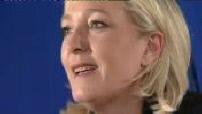 Cantonales 1er tour : Nanterre, point presse de Marine Le Pen au siège du FN