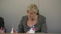 présidentielle 2012 : réunion débat Marine Le Pen, candidate FN, invitée au siège de la CGPME