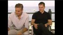 """ITW (junket) George Clooney and Matt Damon for """"Ocean 13""""."""