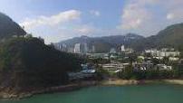 Vue aérienne par drone de bateaux dans Repulse Bay près de Hong Kong