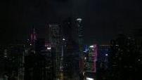 Lighting towers Hong Kong at night