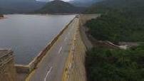 Aerial drone Road Tai Tam Reservoir on Hong Kong Island
