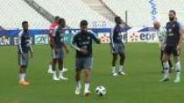 Football: training the team of France in Saint-Denis