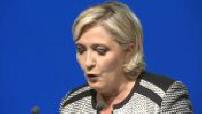 Illustration Marine Le Pen en conférence de presse