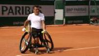 Stéphane Houdet à l'entraînement à Roland Garros
