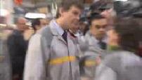 Carlos Ghosn and Arnaud Montebourg visit the Renault factory in Flins