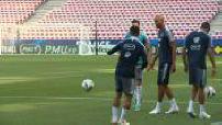 Football : Entraînement de l'équipe de France à Nice