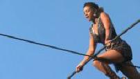 Performance of the tightrope walker Tatiana-Mosio Bongonga