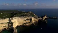 Aerial views of Bonifacio, Corsica.