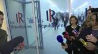 Sortie de Nadine Morano après un entretien avec Nicolas Sarkozy au siège du parti Les Républicains
