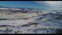 Vue aérienne par drone des environs du lac Baikal