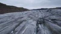 Aerial view UAV glacier surrounding Katla volcano in Iceland (2/2)