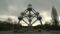 The Atomium under clouds