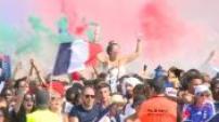 2018 World Cup: fans watching the final in Paris fan area part 1