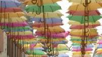 Colorful umbrellas in Fresnay sur Sarthe