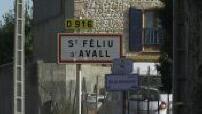 Panneau et centre du village de Saint Féliu d'Avall