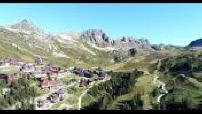 Aerial views by drone : La Plagne, Tarentaise valley